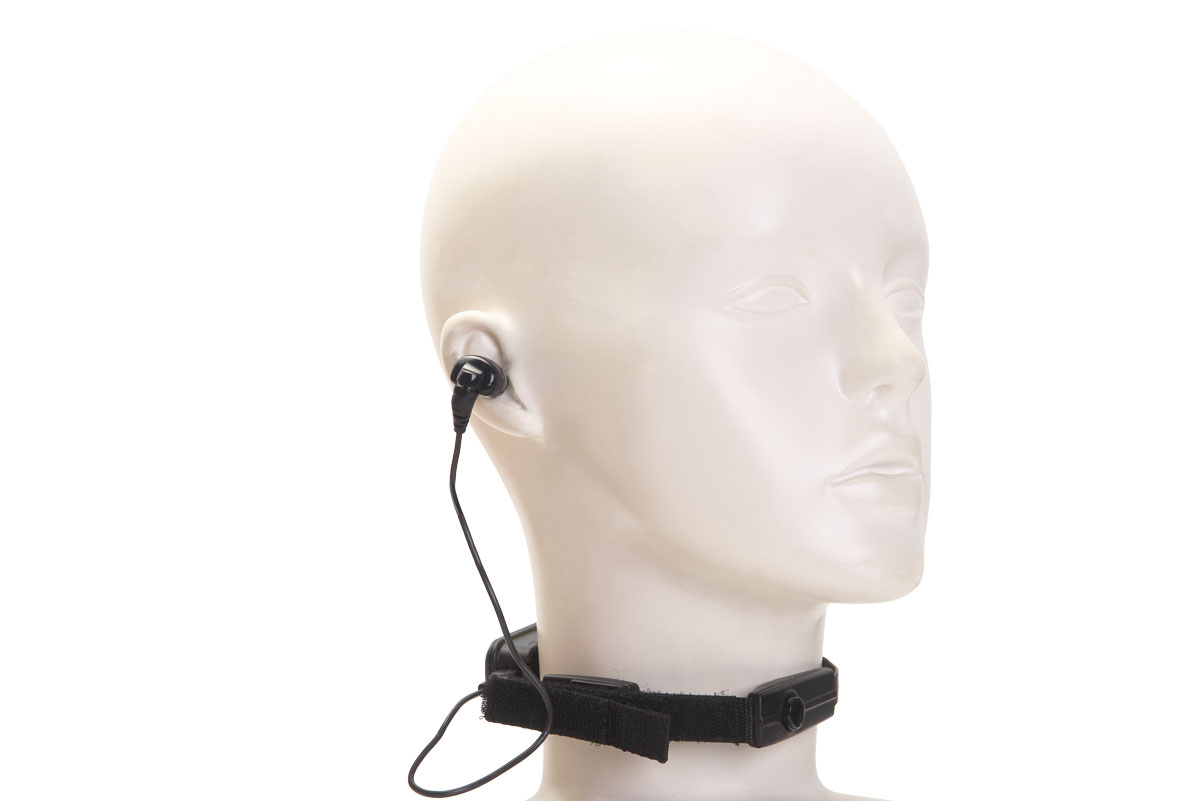 骨伝導咽喉マイク&片耳イヤホン (首元PTT付き)